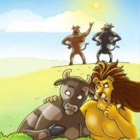 astuto leon cuento tres bueyes